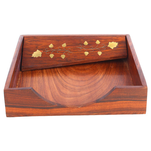 """8""""x8""""x2"""" Handmade Adjustable Wooden Napkin Holder for Tissue Papers and Napkins - Image 2"""