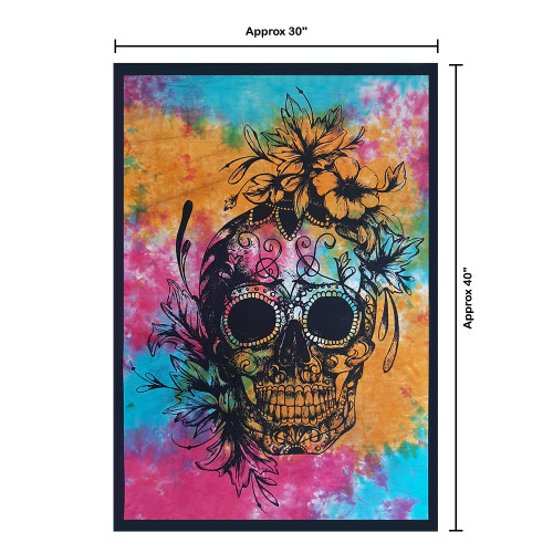 """Trumiri 30""""x40"""" Poster Size Tie Die Multi Color Skull Tapestry, Hippie Mandala Bedding Tapestry Wall Hanging Psychedelic Tapestry Dorm Decor Bohemian Tapestry, Boho Tapestries, Mandala Throw Bedspread"""