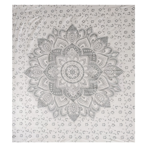 """Trumiri 90""""x100"""" Double Size Silver On White Ombre Mandala Tapestry, Hippie Mandala Bedding Tapestry Wall Hanging Intricate Floral Design Indian Bedspread, Boho Tapestries"""