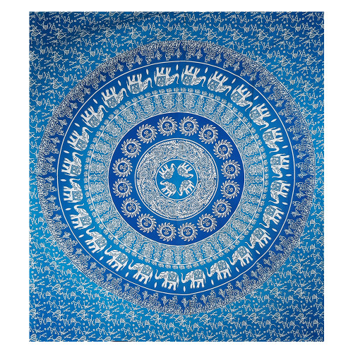 """Trumiri 90""""x100"""" Double Size Turquoise Green Elephant Tapestry Wall Hanging Elephant Tapestries Hippie Tapestry Mandala Tapestries"""