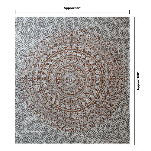 """Trumiri 60""""x90"""" Single Size Black and White Elephant Color Printed Ombre Mandala Tapestry"""