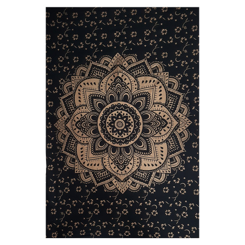 """Trumiri Black On Gold Color Printed Ombre Mandala Tapestry, Hippie Mandala Bedding Tapestry Wall Hanging Psychedelic Tapestry Dorm Decor Bohemian Tapestry (60""""x90"""" Single Size)"""