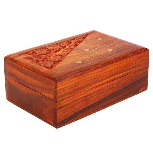 """7""""x4""""x3"""" Wooden Jewelry Organizer for Women with Floral Carving and Brass Inlay - Image 2"""