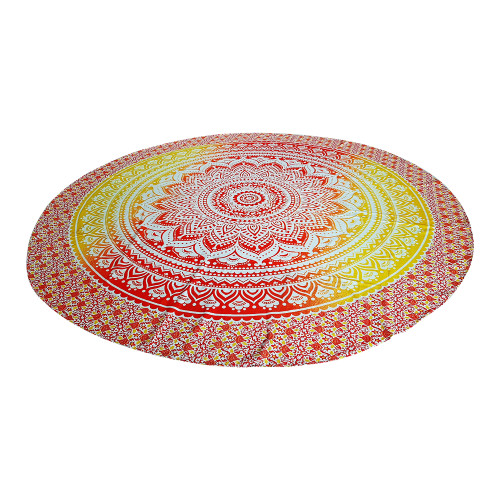 """Trumiri 70"""" Round Size Ombre Mandala Light Yellow & Red Pigment Printed Tapestry"""