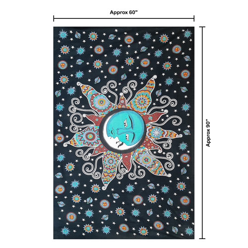 """Trumiri 60""""x90"""" Single Size Pigment Printed Psychedelic Celestial Tapestry"""