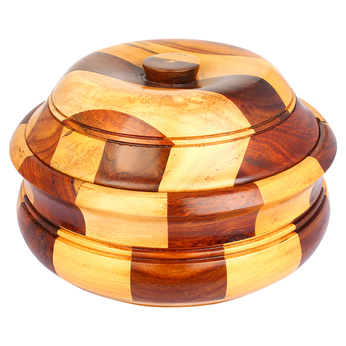 """10""""x6"""" Wooden Casserole with Stainless Steel Pot and Lid for Food, Chapatti - Image 2"""
