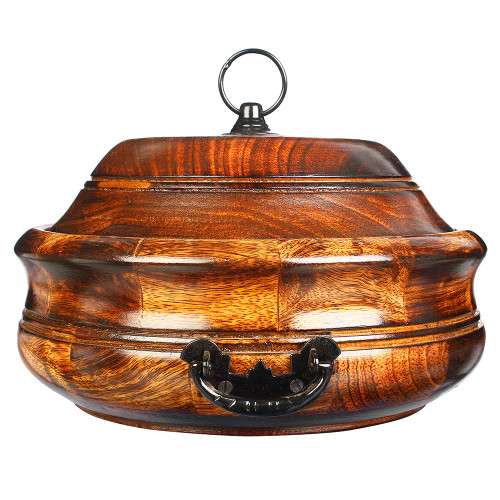 """9""""x6"""" Wooden Hot Case with Lid and Stainless Steel Pot for Food, Rice, Chapatti - Image 2"""