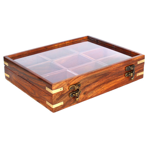 """10""""x8""""x3"""" Antique Wooden Spice Box for Snacks with 9 Storage Compartments - Image 2"""