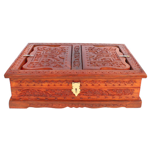 """14""""x10""""x3"""" Folding Wooden Holy Book Stand with Book Storage Box - Image 2"""