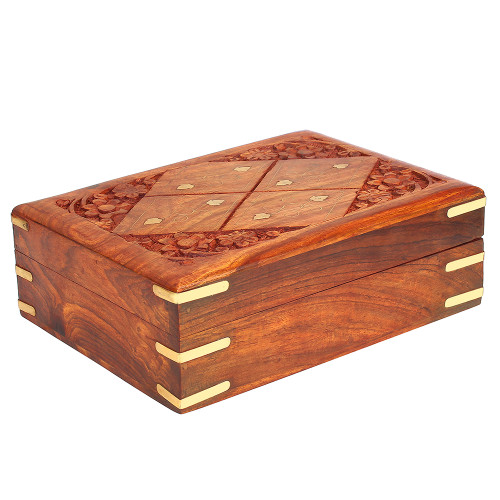 """8""""x6""""x3"""" Wooden Storage Box with Floral Carving, Brass Inlay & Velvet Lining - Image 2"""