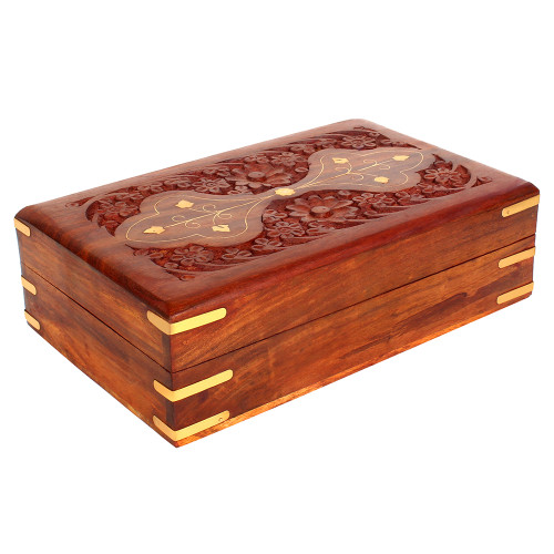 """8""""x5""""x3"""" Wooden Storage Box with Floral Carving, Velvet Lining and Brass Inlay - Image 2"""
