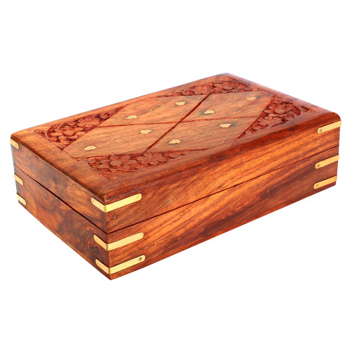 """8""""x5""""x3"""" Wooden Storage Box with Floral Carving, Brass Inlay & Velvet Lining - Image 2"""