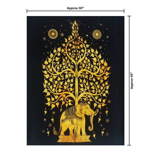 Indian Elephant Tree Of Life Small Wall Hanging Poster Tapestry Dorm Decor 30*40
