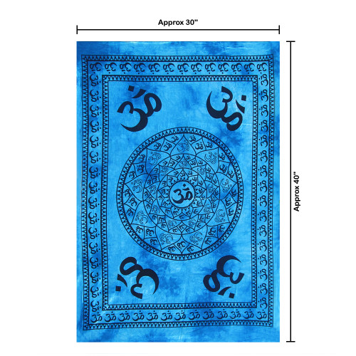 """30""""x40"""" Blue & Black Om Pigment Printed Poster Size Tapestry - Image 2"""