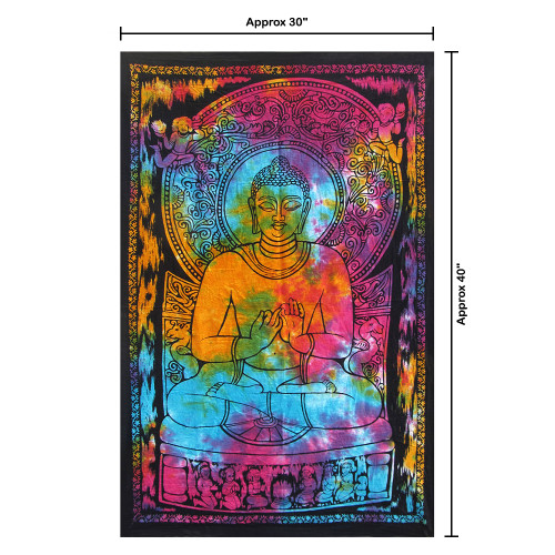 """30""""x40"""" Multicolor PrEaching Lord Buddha Printed Multidie Poster Size Tapestry - Image 2"""