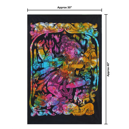 """30""""x40"""" Multicolor Goddess Kaali Maa Pigment Printed Poster Size Tapestry - Image 2"""