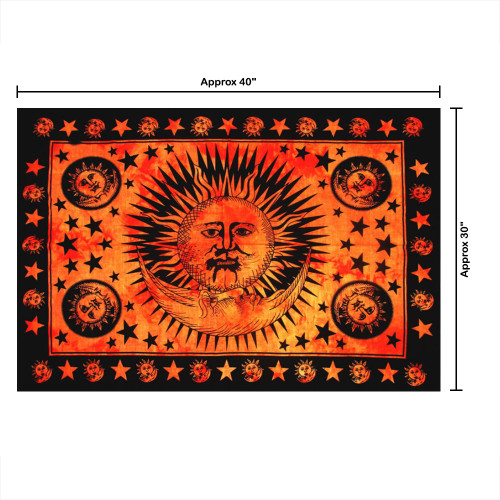 """30""""x40"""" Brown & Black Burning Sun Star Pigment Printed Poster Size Tapestry - Image 2"""