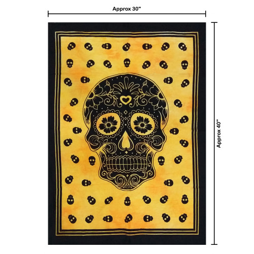 """30""""x40"""" Yellow & Black Skull Pigment Printed Poster Size Tapestry - Image 2"""