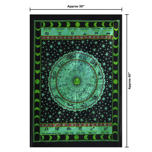 """30""""x40"""" Green & Black Zodiac Signs Pigment Printed Poster Size Tapestry - Image 2"""