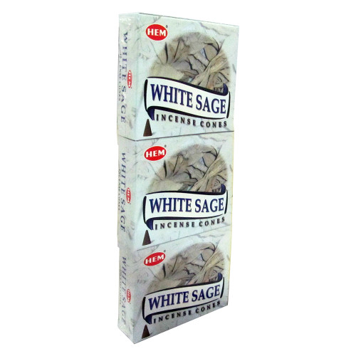 Hem White Sage Pack of 3 Incense Cones Boxes, 10 Cones Each - Image 2