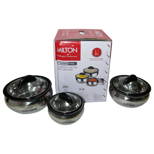 Milton Clarion Thermo Steel Gift Set Clear Lid, Hot Pot, Insulated Casserole - Image 2