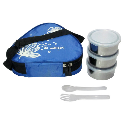 Milton Soft Line Tiffany, 3 Round Steel Container, 1 Fork & Spoon, Lunch Box - Image 2