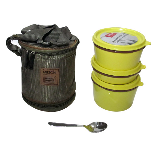 Milton Soft Line Flexi Tiffin, 3 Round Steel Container, Fork & Spoon, Lunch Box - Image 2