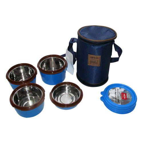 Milton Soft Line Flexi Tiffin, 4 Round Steel Container, Fork & Spoon, Lunch Box - Image 2