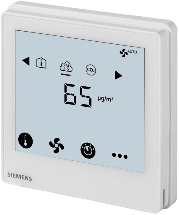 Siemens RDF870KN, S55770-T407, Touch Screen Flush-mount PM2.5 & IAQ Controller with KNX