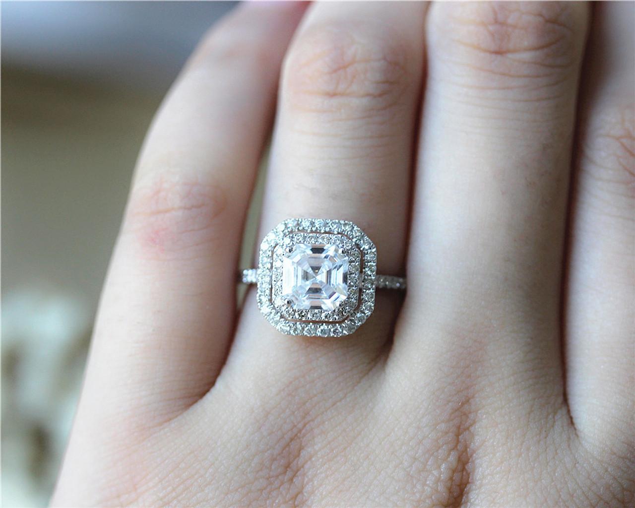 139558e733d24 Forever One Asscher Cut Charles & Colvard 6.5mm Brilliant Moissanite Ring  Solid 14K White Gold
