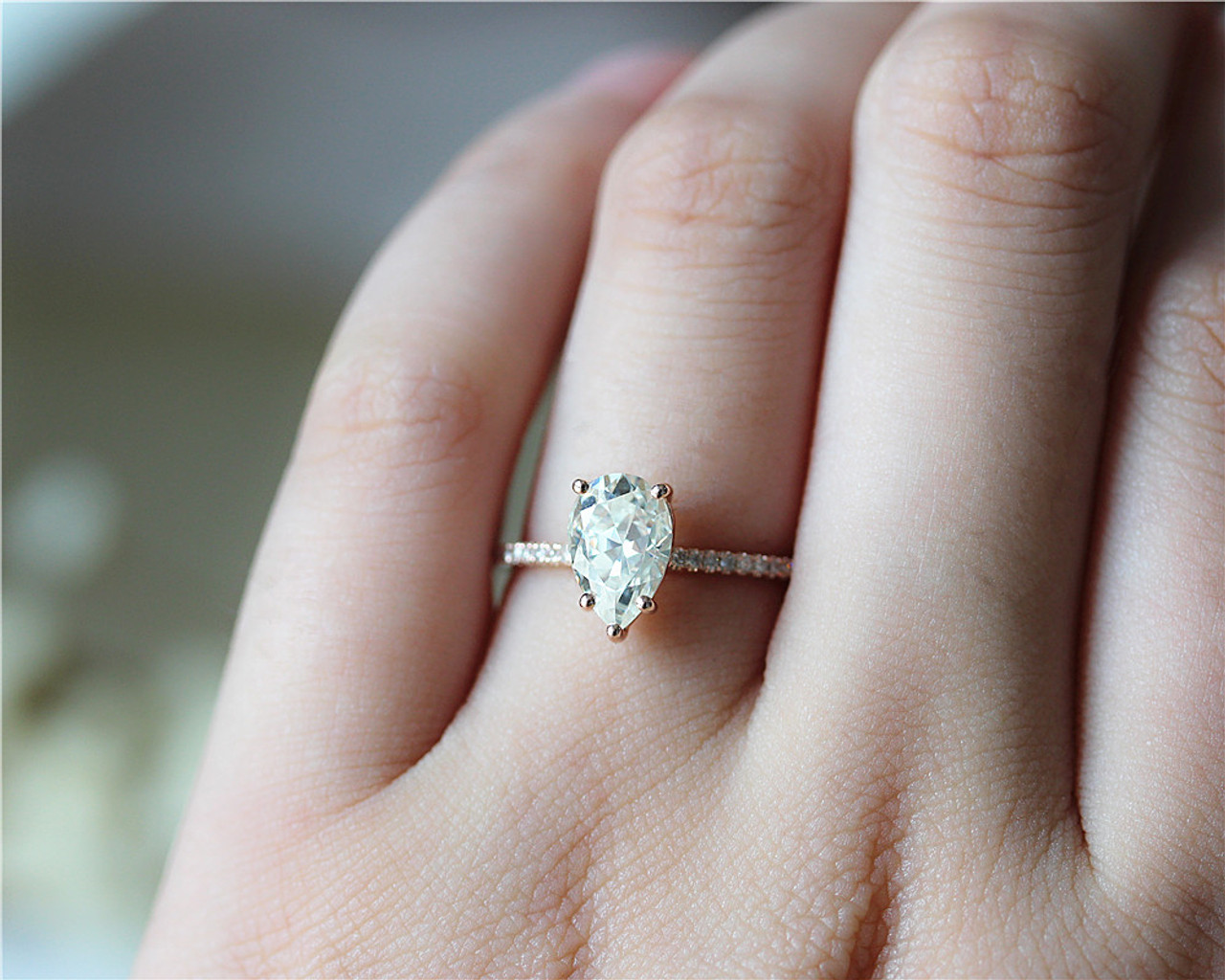 1 5ct Pear Cut Brilliant Moissanite Ring Solid 14K Rose Gold Moissanite  Engagement Ring