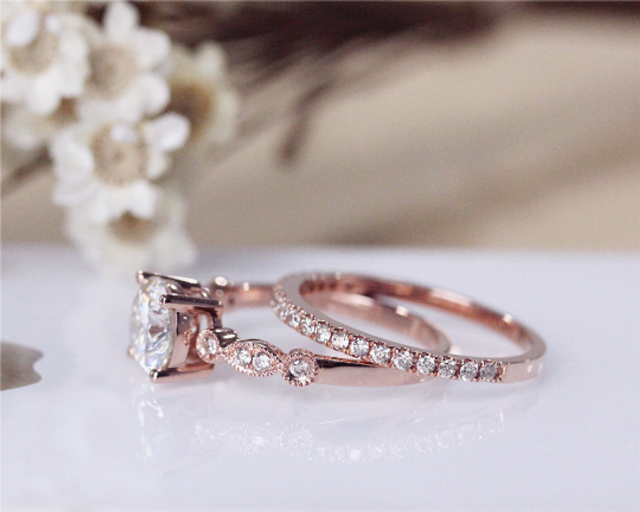 Forever Classic Moissanite Ring Set Solid 14k Rose Gold Moissanite Engagement Ring Set Wedding Ring Set