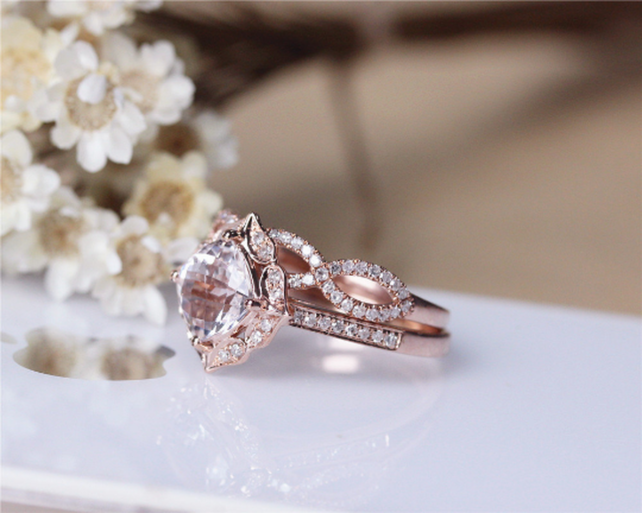 Morganite Enement Rings Rose Gold | Cushion Morganite Engagement Ring Set Solid 14k Rose Gold Morganite
