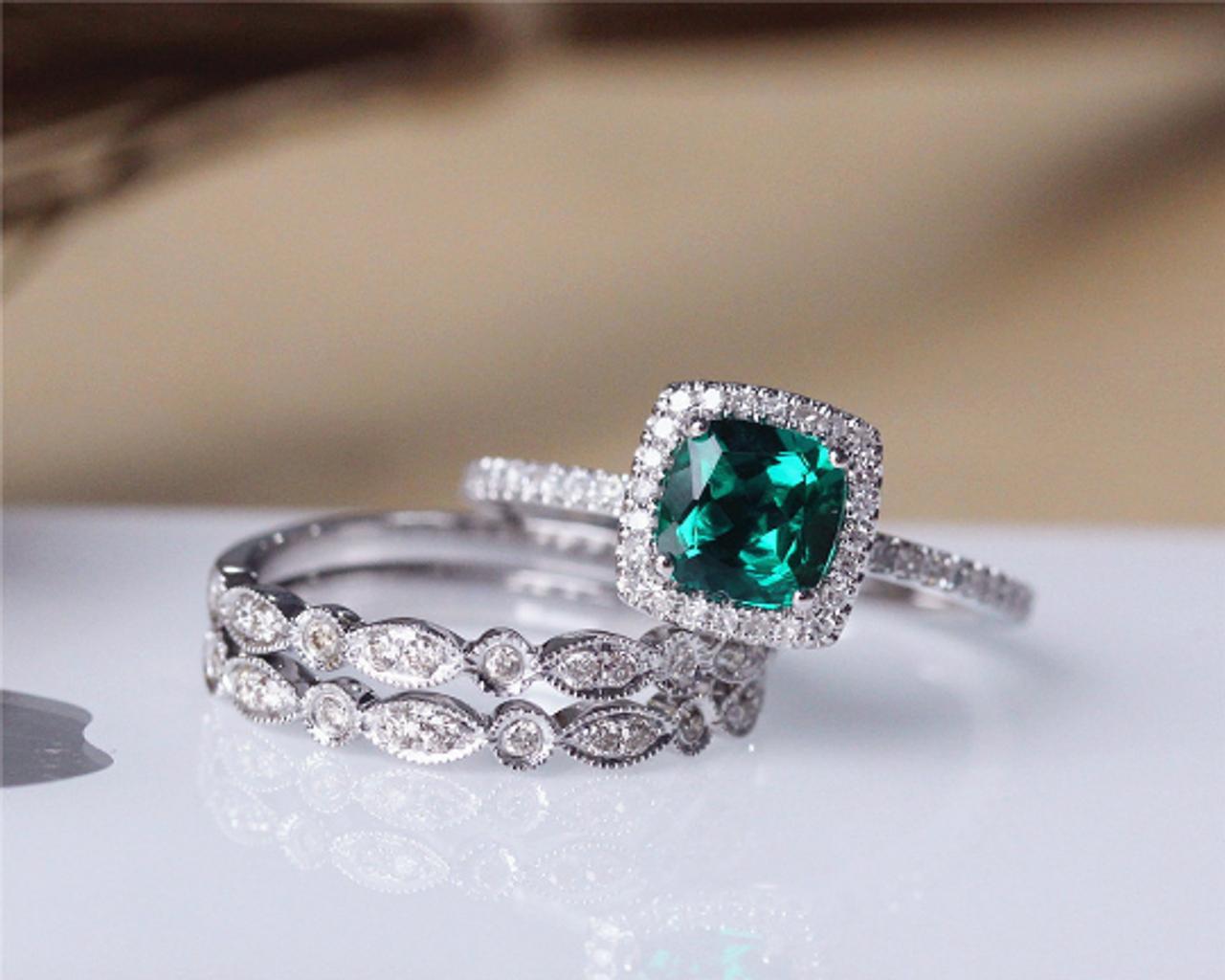 6mm Cushion Cut Emerald Ring Set Solid 14k White Gold Emerald Engagement Ring Set Wedding Ring Set