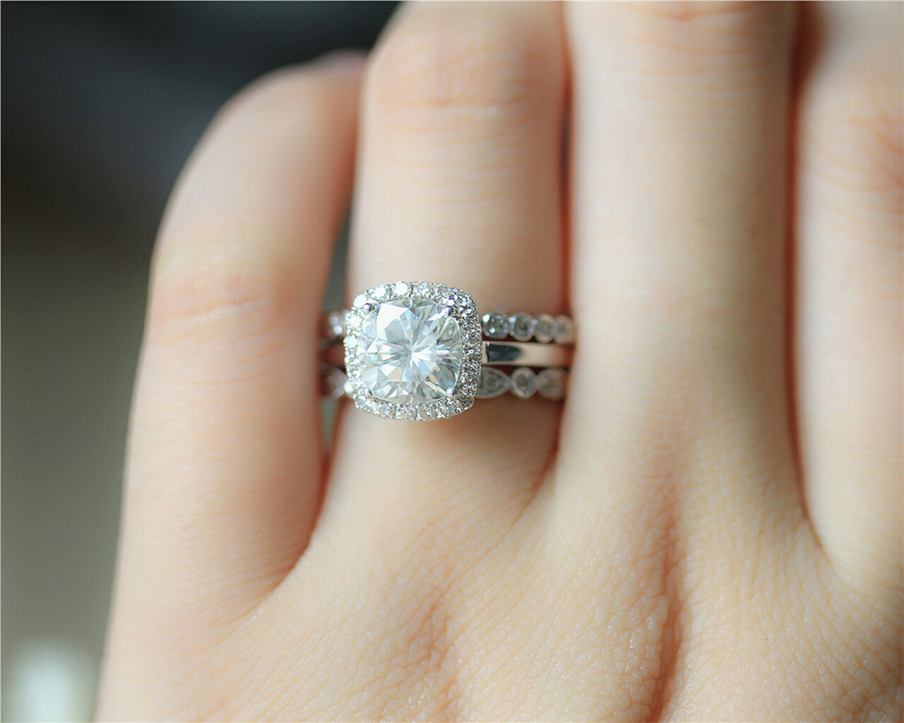 1 7ct Moissanite Ring Set 3 Rings Set Solid 14k White Gold Wedding
