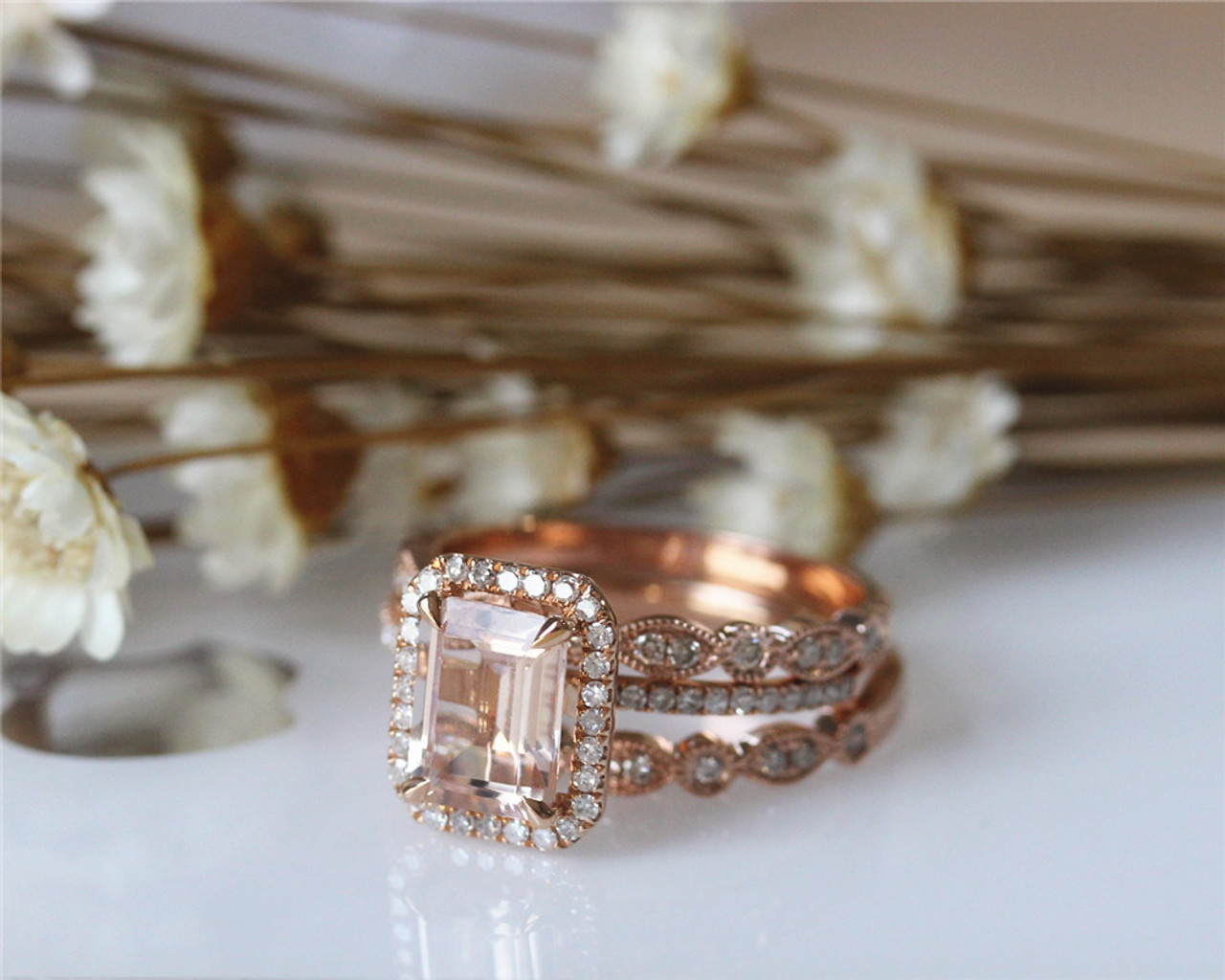 40ed8806e323bf 3PCS 14K Rose Gold Morganite Ring Set 8x10mm Emerald Cut Engagement Diamond  Ring Set ...