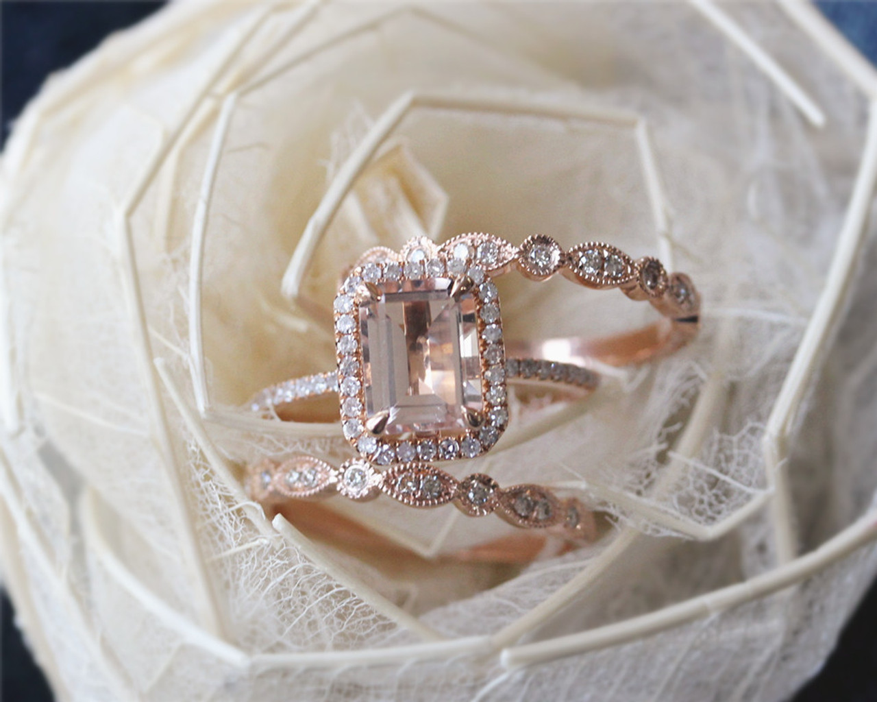 851c8055a265eb ... 3PCS 14K Rose Gold Morganite Ring Set 8x10mm Emerald Cut Engagement  Diamond Ring Set