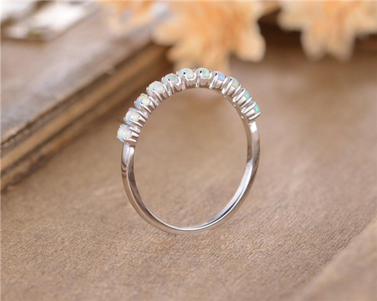 9326bbc6d024e7 Opal Wedding Band Women White Gold October Birthstone Anniversary Gift  Promise Ring