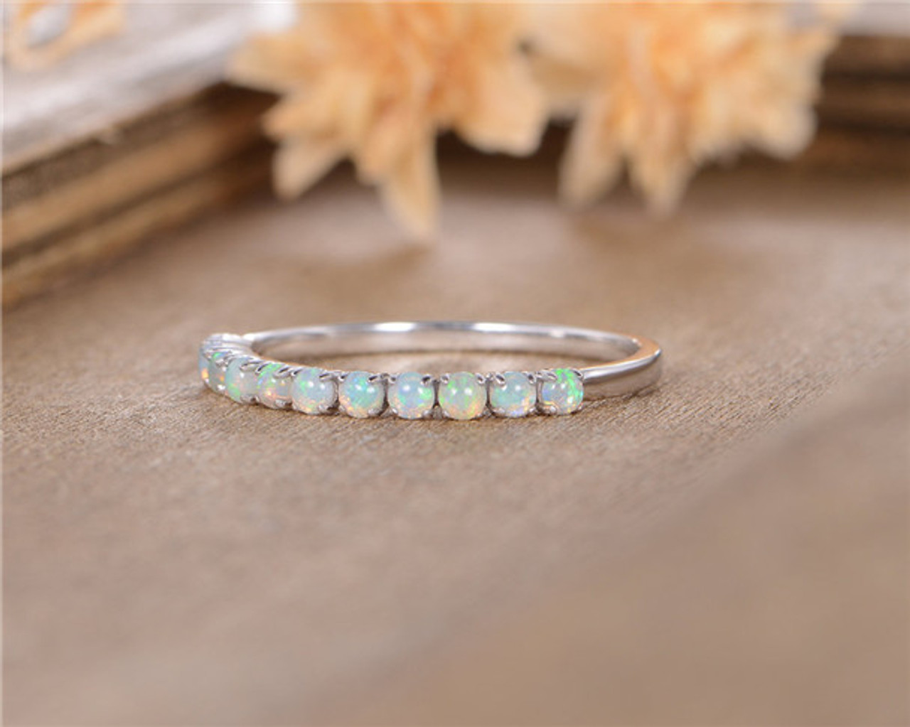 Opal Wedding Band.Opal Wedding Band Women White Gold October Birthstone Anniversary Gift Promise Ring