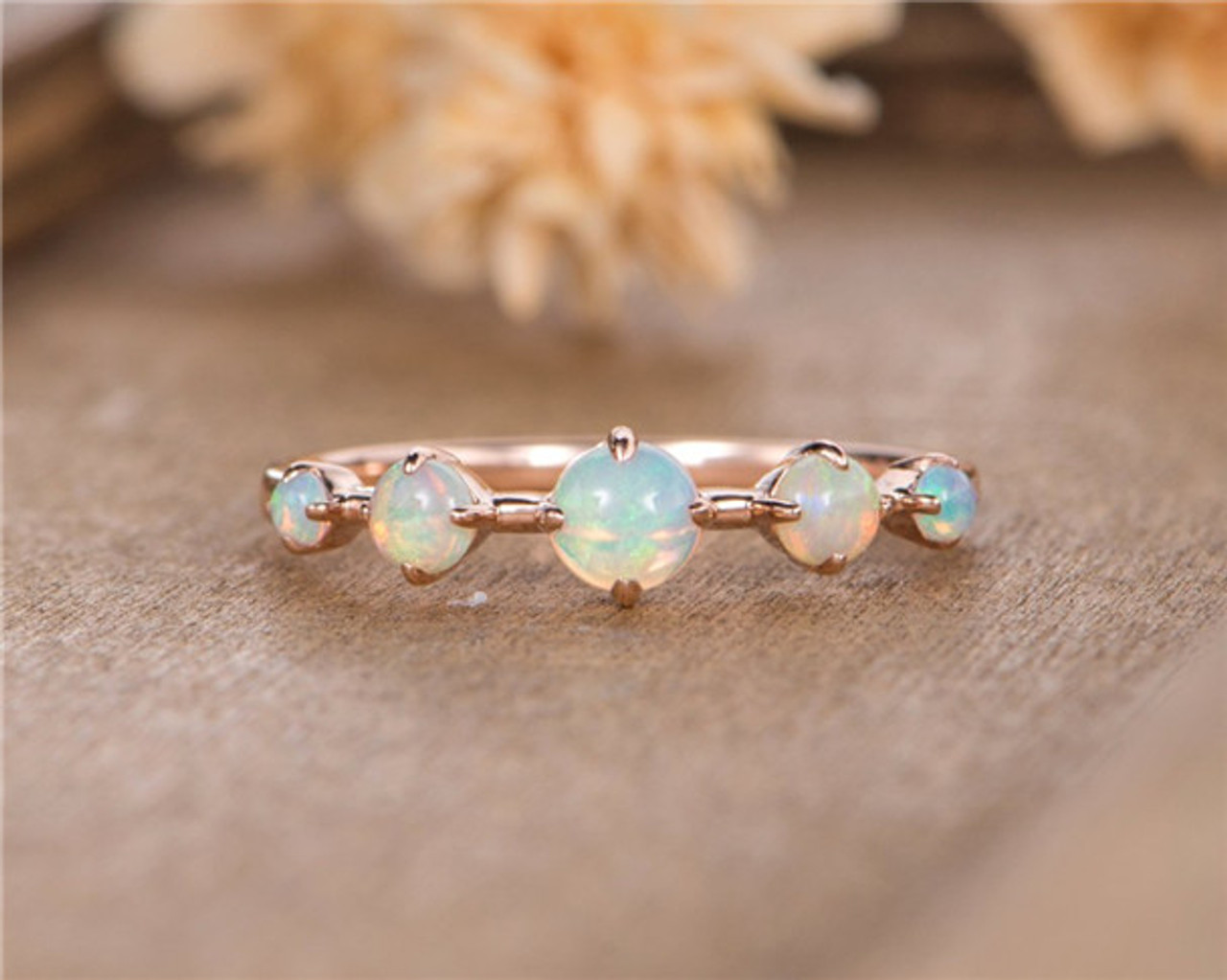 Opal Wedding Band.Opal Wedding Band Rose Gold Five Stone October Birthstone Stacking Matching Bridal Anniversary Ring