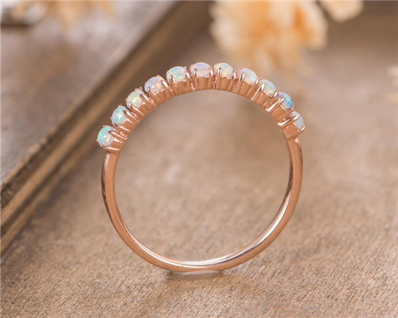 baac8482d411aa Opal Wedding Band 14K Rose Gold October Birthstone Stacking Matching Bridal Anniversary  Gift