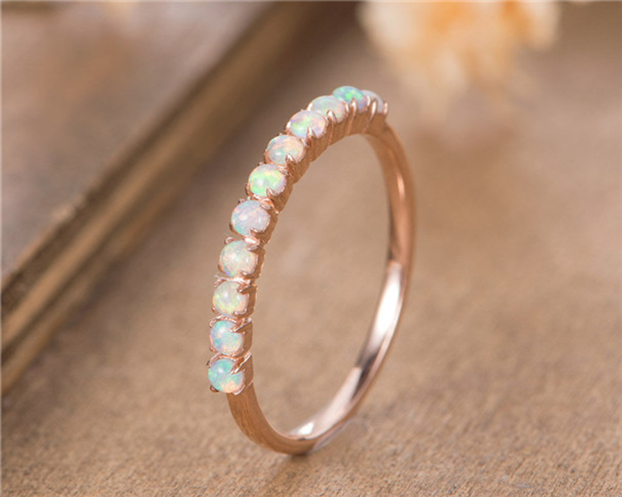 Opal Wedding Band.Opal Wedding Band 14k Rose Gold October Birthstone Stacking Matching Bridal Anniversary Gift