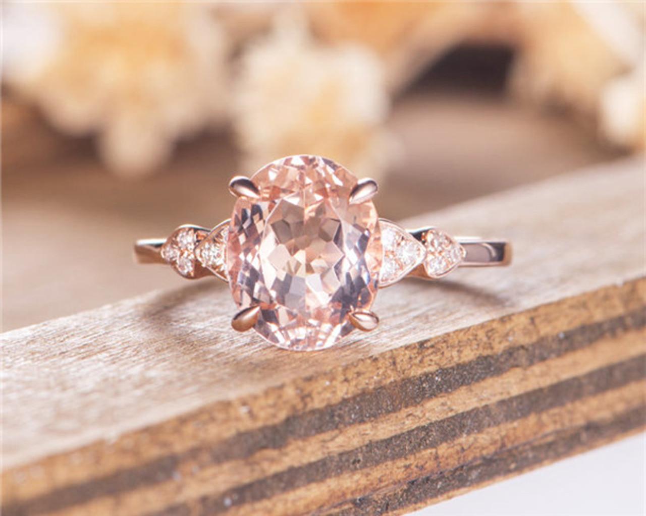 Unique Wedding Ring.Morganite Engagement Ring Rose Gold Bridal Ring Oval Cut Half Eternity Diamond Heart Shaped Unique Wedding Ring