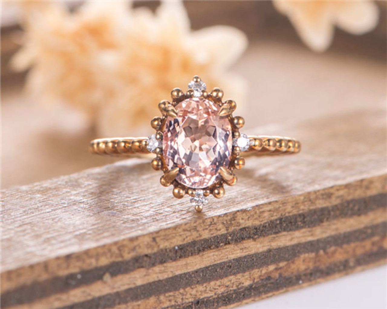 Morganite Engagement Ring Oval Cut Yellow Gold Halo Diamond Bridal Women Wedding Ring Vintage Anniversary Gift