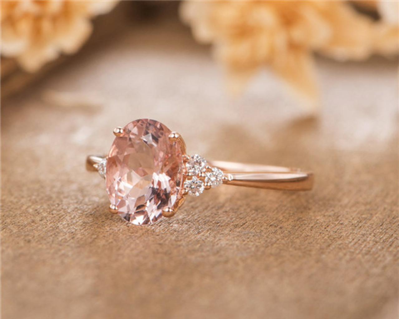 Rose Gold Bridal Ring Oval Cut Morganite Engagement Ring Simple Women Anniversary Wedding
