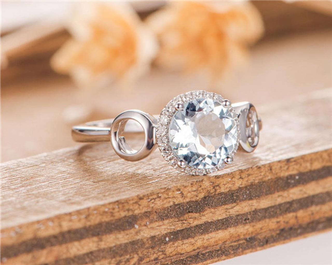 bd6144b893d65 Aquamarine Engagement Ring Halo Diamond Half Eternity Band White Gold Women  Bridal Promise Ring Birthstone Gift