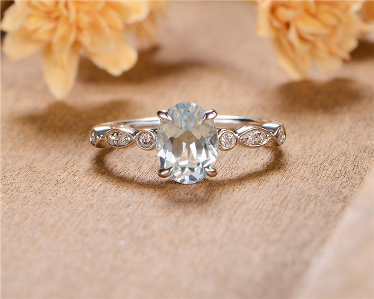 Women Wedding Rings.Aquamarine Engagement Ring Oval Cut Solitaire Art Deco Diamond White Gold Bridal Women Wedding Ring Birthstone March Promise Anniversary