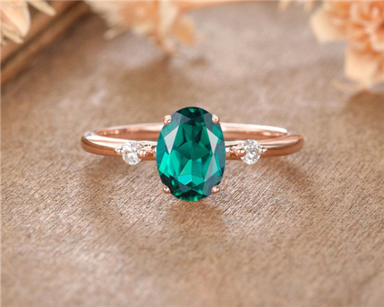 dfb1e866f6864 Lab Emerald Engagement Ring Rose Gold Oval Cut Birthstone Promise Women  Anniversary Gift