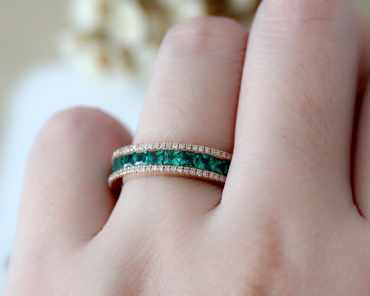 Emerald Wedding Band.Emerald Wedding Band Infinity Rose Gold Women Eternity Stacking Matching Bridal Anniversary Ring Unisex Ring