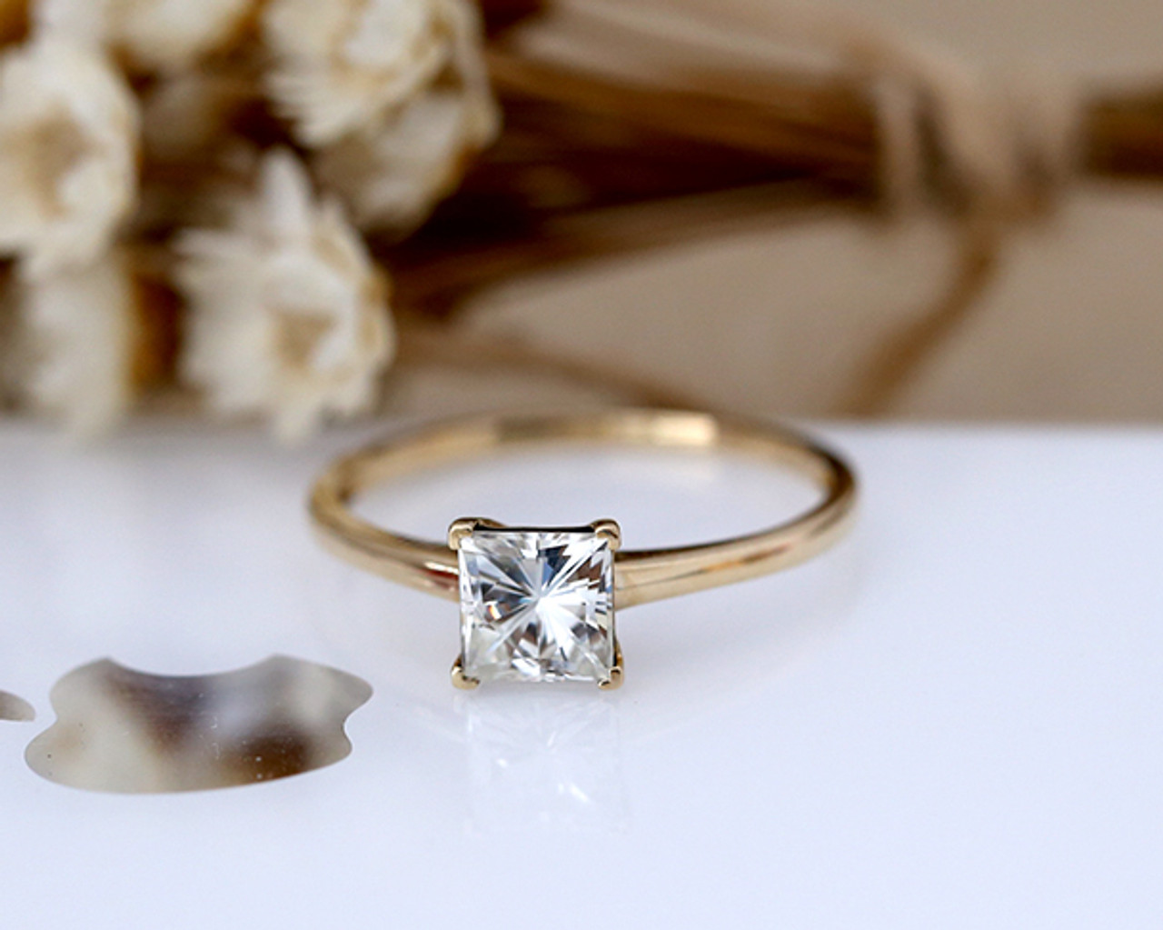 1ct Princess Cut Brilliant Moissanite Ring Solid 14K Yellow gold Wedding  Ring Moissanite Engagement Ring